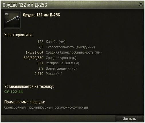 Гайд по советской премиум ПТ-САУ 7 уровня СУ-122-44 WoT