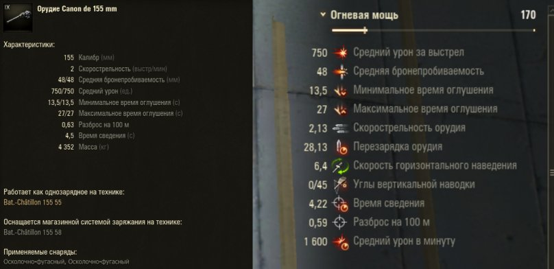 АРТ-САУ 9 уровня Bat.-Chatillon 155 mle. 55 WoT - гайд от aces.gg